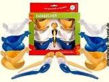 Eierbecher Huhn 6Pack + 6Löffel weiß,blau,gelb + Geschenkverp. ++ DAS Ostprodukte Geschenk – DDR Traditionsprodukt und Ossi Kultprodukt – Geschenkidee...