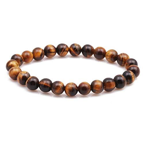 JIANGLAI Pulsera de cuentas de 8 mm de piedra natural de lava ojo de tigre negro ónix mate cuentas brazalete estiramiento encanto yoga para mujeres hombres joyería