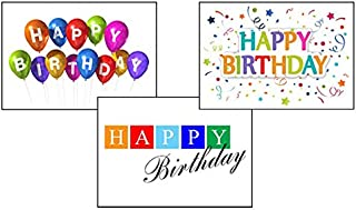 Birthday Greeting Card Assortment - VP1601. Greeting Cards Featuring Three Different Birthday Cards. Box Set Has 25 Greeting Cards and 26 Sky Blue, Orange or Lime Green Colored Envelopes.