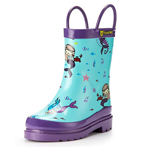 TIDEWE Rain Boots for Kids and Toddlers, Children Natural Rubber Rain Boots with Easy-On Handles, Waterproof Lightweight Kids Rain Boots in Fun Patterns for Boy and Girls (Mermaid Size 9T)
