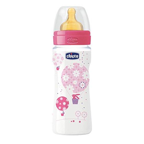 Chicco Wellbeing - Biberón con tetina de látex y flujo rápido para bebé de 4m+, 330 ml, color rosa