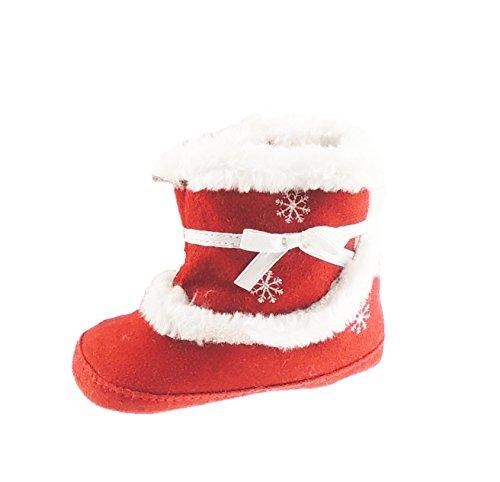 schattig rood & wit imitatiebont bijgesneden sneeuwvlok kerst jongens meisjes baby laarzen tot 1 jaar