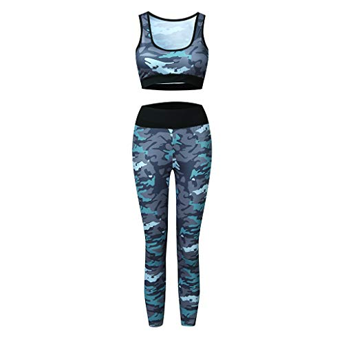 CiKiXZ Tuta da Donna con Stampa Floreale Crop Top Sportivo e Pantaloni Elastici per Palestra Pilates Yoga Fitness Set Abbigliamento Sportivo da Allenamento Completa per Donna