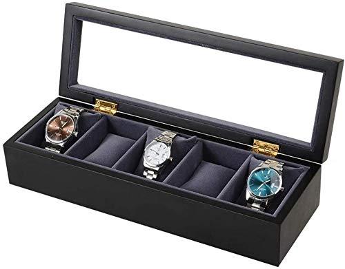 Caja de almacenamiento de reloj con tapa de cristal, caja de reloj para hombre, organizador de pantalla de fibra de carbono, funda de almacenamiento para 5 relojes (color: negro, tamaño: una talla)