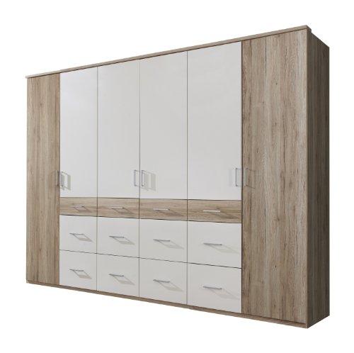 Wimex Kleiderschrank/ Drehtürenschrank Click II, 6 Türen, (B/H/T) 225 x 210 x 58 cm, San Remo-Eiche/Absetzung Weiß