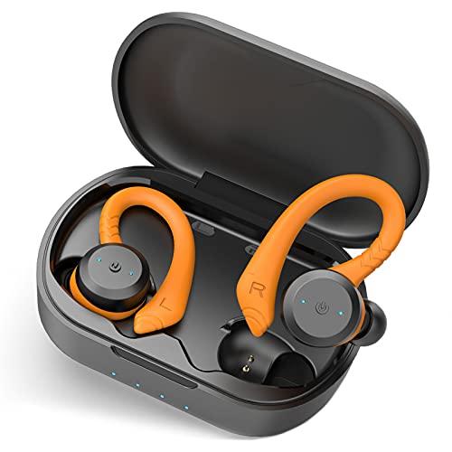 Auriculares Inalámbricos Deportivos, Auriculares Bluetooth 5.1 Estéreo con Micrófono, Cascos Inalambricos IPX7 Impermeable, Cancelación de Ruido In Ear Auriculares con Carga Rápida USB-C, para Correr