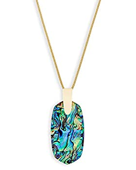 Kendra Scott Inez Long Pendant Necklace for Women Fashion Jewelry 14K Gold-Plated Abalone Shell