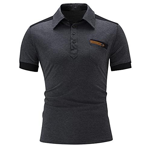 Shirt Hombre Regular Fit Moda Empalme Solapa Tops Hombres Trabajo Casual All-Match Camisa Polo Hombres Clásico Transpirable Botón Tapeta Shirt Hombres