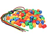Lacing Beads for Preschool Kids - 90 Stringing Threading Beads Crafts Toy