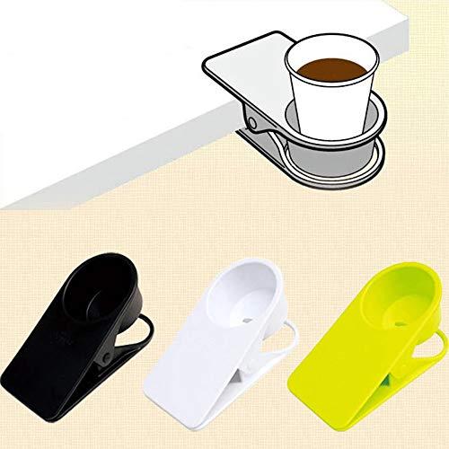 fliy eong Vaso Soporte Clip de Mesa Botella Cup Soporte la DIY Cristal Clamp Storage Platillo Clip Agua Taza de café Plana Plato Clip Diseño para Home u0026Office, Negro