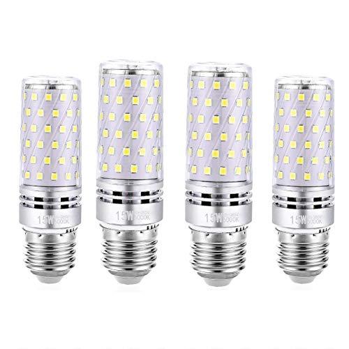 WinnowTe Ampoule Maïs LED E27 15W, LED Candélabres Ampoules, Blanc Froid 6000K, 1500LM, Équivalent Ampoule Incandescence 120W, Non-dimmable, lot de 4