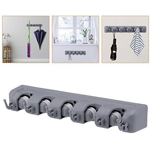 5 Position 6 Hooks Multifunctional Mop Hanger Hook, Wall Mounted Bathroom Storage Plastic Broom Rack, for Home, Kitchen, Garage Organizing