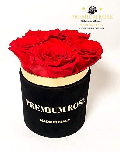 Premium box 5 rozen gestabiliseerd rood in zwarte doos van fluweel rond zwart echte rozen houden jarenlang