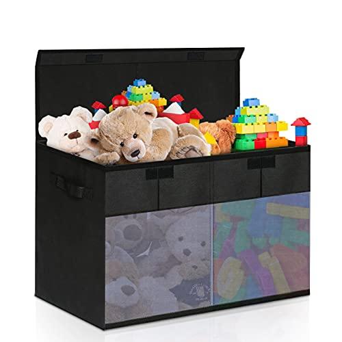 Aufbewahrungsbox mit Deckel, Kinder Aufbewahrung, Faltbar Spielzeugkiste mit Deckel, Aufbewahrungskiste mit Deckel, Kann Spielzeug, Kleidung Aufbewahren