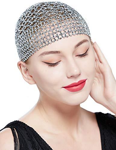 Coucoland Gatsby Haar Kette Cap 1920s Stirnband mit Pfau Feder Haarspange Exotisch Cleopatra Kostüm Accessoires Damen Fasching Kostüm Haar Accessoires (Stil 2 - Silber)