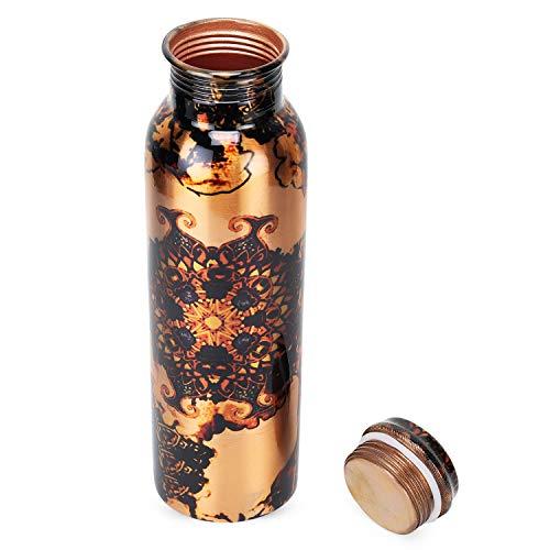 Zap Impex Travellers - Botella de agua de cobre puro, diseño gráfico para beneficios ayurvédicos, botella de agua sin juntas