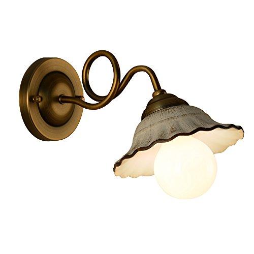 SYF light European Retro Mirror Headlights, Tête Simple, Placage De Lampe En Bronze, Abat-jour En Céramique, 30cm Du Mur, Diamètre 17.5cm, Hauteur 18cm, Type De Culot E27 * 1,6-10 Watts, 220V, Appliqu