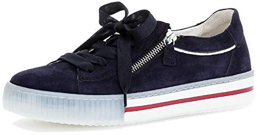 Gabor Damen Sneaker, Frauen Low-Top Sneaker,Best Fitting,Reißverschluss,Wechselfußbett, sportschuh Ladies,Bluette(Marine-k.),37.5 EU / 4.5 UK
