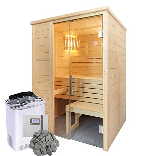 Well Solutions Bi-o Sauna Alaska Mini | Saunakabine inklusive Bi-o Saunaofen Scandia Combi Mini und Well Solutions Steuerung H2 Made in Germany