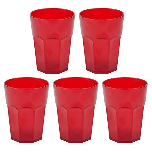 ENGELLAND 5 vasos de plástico para fiestas, vasos de plástico para coctail (0,25 L), color rojo