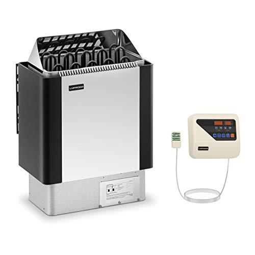 Uniprodo UNI_SAUNA_BS9.0KW-SET-3 Set Saunaofen mit Saunasteuerung 9 kW 30 bis 110 °C LED-Display Edelstahlblende