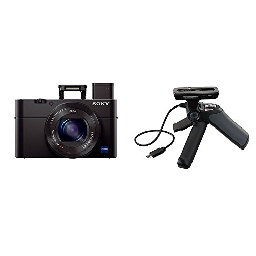 """Sony Cyber-shot DSC-RX100 III Digital Still Camera with OLED Finder, Flip Screen, WiFi, and 1"""" Sensor and GPVPT1 Grip and Tripod for Camcorders (Black)"""