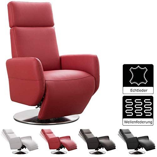 Cavadore TV-Sessel Cobra / Fernsehsessel mit Liegefunktion, Relaxfunktion / Stufenlos verstellbar / Ergonomie M / Belastbar bis 130 kg / 71 x 110 x 82 / Echtleder Rot