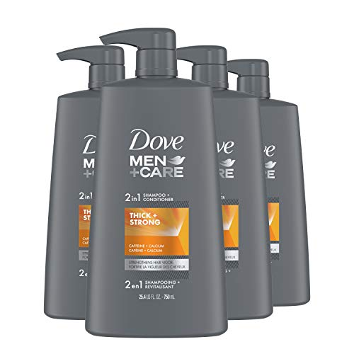 DOVE MEN + CARE 2 in 1 Shampoo & Conditioner Fortifying Shampoo Cleans and Purifies Thick & Strong Strengthens and Recharges Hair Vigor 25.4 oz, Pack of 4