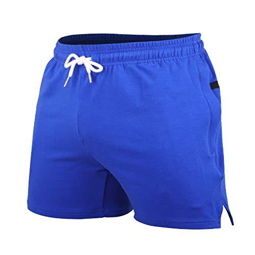 """Bodybuilding, allenamento e allenamento da 5 """"shorts fatto di cotone spugna 95% e spandex 5%.Super soft,peso medio e tessuto elastico. Pantaloncini casual da 5 posti per passeggiare o praticare sport all'aria aperta. Larga fascia elastica in vita con..."""