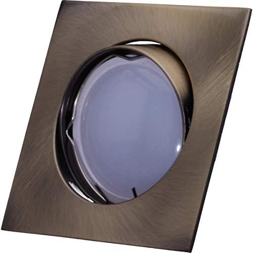 SMD LED Einbaustrahler 230 Volt 4W GU10 Lampe Strahler Einbauleuchte Rahmen Altmessing Eckig schwenkbar 45 Grad hg39-6 Warmweiß
