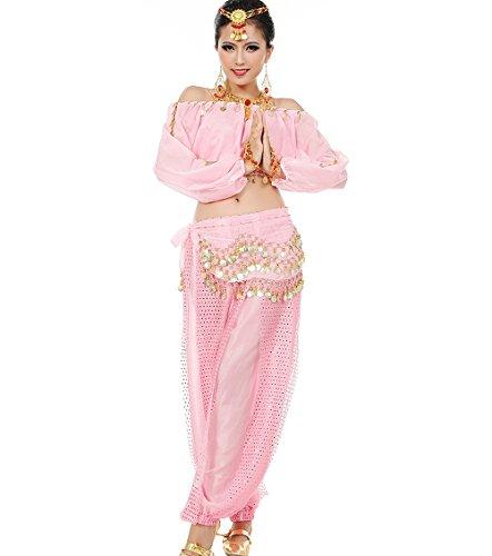 Astage Mujeres Danza del Vientre Disfraz Active Wear Top Pantalones Cinturón Sets Rosado