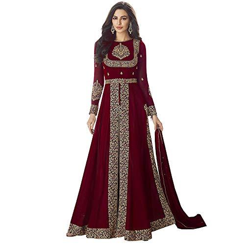 skyviewfashion Fiesta De La Boda De Imitación Bollywood Indio Georgette Paquistaní Saris Traje De las mujeres|Granate|Un tamaño