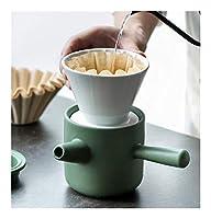 1SetsセラミックスコーヒーカップフリーペーパーポータブルV60ファンネルドリップハンドカップは、ろ紙でコーン2では1コーヒーメーカーエスプレッソカフェギフトをフィルタ 手動コーヒーツール (Color : Green)