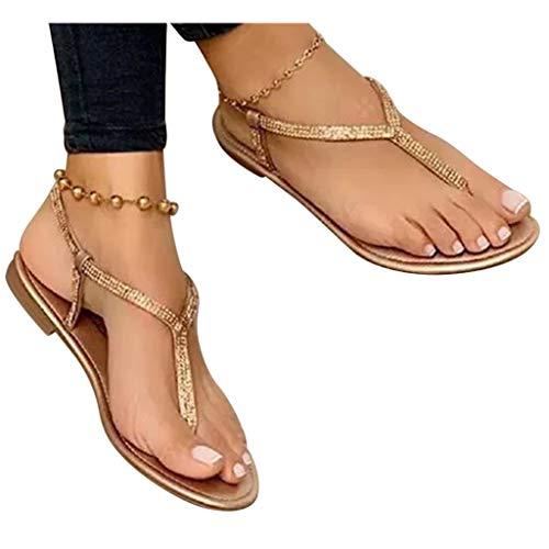 Dasongff Damen Sandalen mit Riemchen Strass Sparkly Glitzer Zehentrenner Flache T-Riemen Pantoletten Bling Kristall