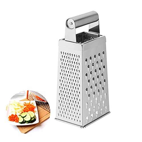 Vierkantreibe 4-seitige Reibe Edelstahl Küchenreibe Küchenreibe zum groben und feinem Raspeln für Obst Gemüse Karotten Käse spülmaschinengeeignet