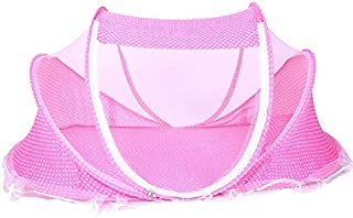 Instant Pop up Portable Baby Travel Bed with Mosquito Net Crib Beach Tent(Pink)