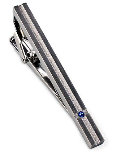 [タバラット] ネクタイピン タイピン メンズ 日本製 スワロフスキー ワニ口式 (シルバー-ブルー)