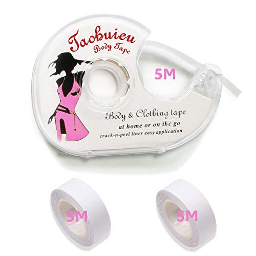 Fashion Tape, 3 Rolls Doppelseitiges Klebeband für Den Körper, Push-up-Tapes Brusttape Klebe-BH mit Zwei Rollen und Abroller