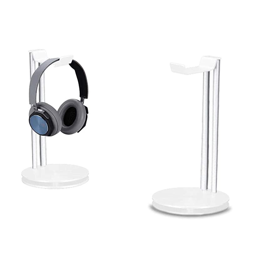 Headphone Stand Holder, LEEGOAL Aluminum Metal Desk Headset Holder Earphone Hanger Mount with Stand and Cable Organizer for All Over-Ear Headphones (White)