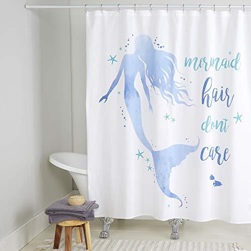 Home Dynamix Nicole Miller Mermaid Hair Don't Care Duschvorhang, 100 prozent Baumwolle, 183 x 183 cm, Blau/Weiß