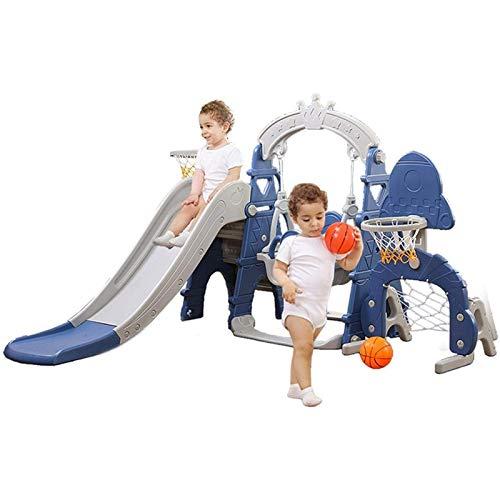 Muyuuu Juego de Columpios para niños al Aire Libre, 5 en 1 para niños, Columpios para Interiores y Exteriores, y Baloncesto, fútbol, Juego de béisbol con Juegos de música en el Patio (Color : Blue)