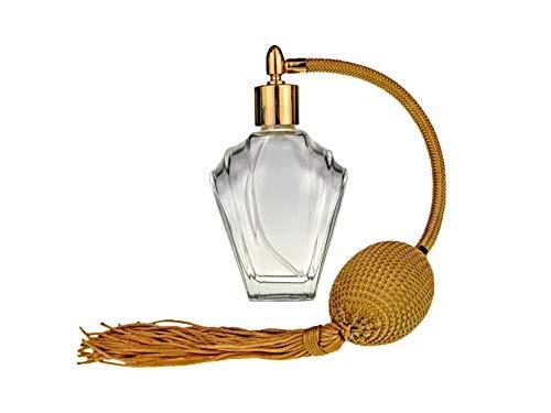 Essentiële Flair Lege Refillable Parfum Glazen Fles Spray Atomizer, 45ml, Gold Tassel Gold Finish. Inclusief trechter en geschenkdoos