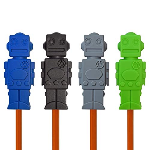 Munchables Chewable Sensory Pencil Toppers - Set of 4 Robots (Navy/Black/Grey/Green)