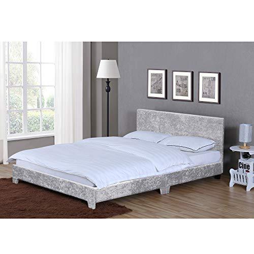 Home Discount Vida Designs Victoria King Size Bett 5ft Bettgestell Gepolstert Textil Kopfgestell Schlafzimmer Möbel Silbern Samt