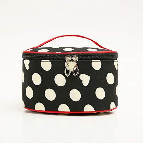 Cylinder Cosmetic Bag_Portable Dot Cylinder Cosmetic Bag Dot Sac À Cosmétiques Étanche, Black + White Dot