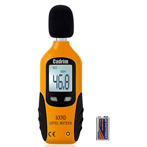 Cadrim Digital Schallpegelmessgerät, Tragbar Digital Sound Level Meter, Mess 30dBA~130dBA mit eine 9V batterie