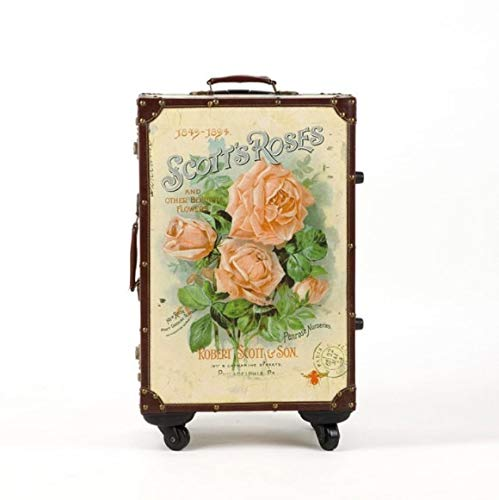 Mdsfe 20' 24' 26' inch retro floral spinner vintage trolley luggage travel suitcase only luggage,20'
