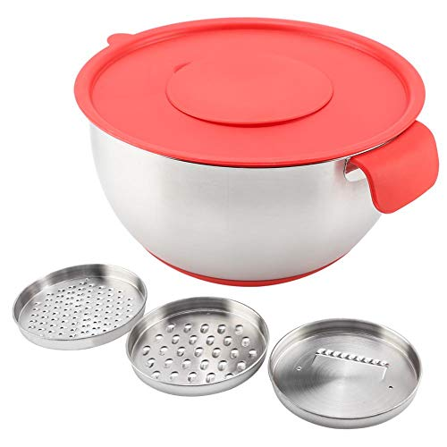 Kitchen Cookware VIFERR Stainless Steel Egg Mixing Salad Bowl with Handle Grater Lid Bowl Bowl With Lid Stainless Steel Bowl Salad Bowl Bowl With Handle(24cm)