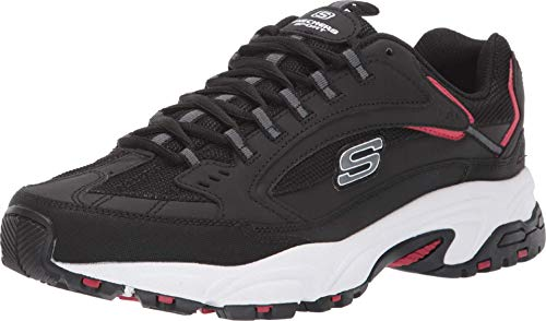 Skechers Men's STAMINA CUTBACK Trainers, Black (Black Leather/Pu/Mesh/Red Trim BKRD), 10 (45...