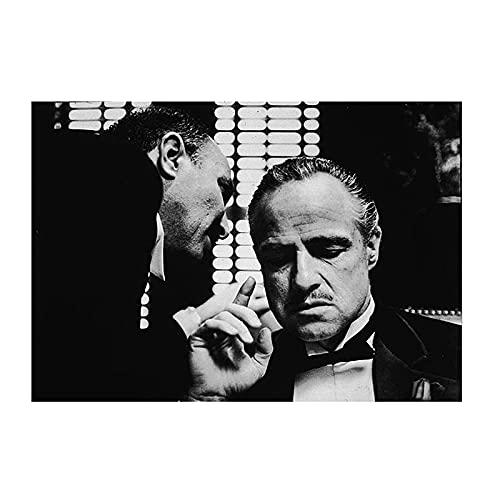 HZLYCH Plakaty i druki Arlon Brando ojciec chrzestny nowoczesne obrazy na ścianę do salonu Home Decor-50x75 cm bez ramki